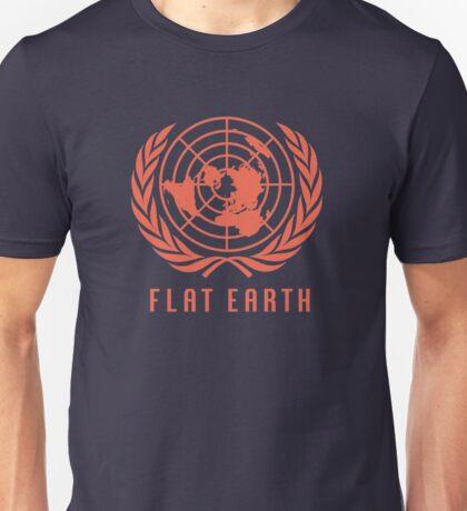 Flat Earth Map (Deep Orange UN Map Azimuthal Logo) Unisex T-Shirt