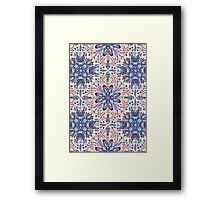 Protea Pattern in Blue, Cream & Coral Framed Print
