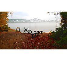 Foggy Morning at Missouri River Wabash Railroad Bridge Katy Bike Trail Photographic Print