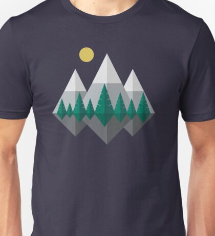 Sunrise Over Mountains and Forest, Flat Nature Landscape Unisex T-Shirt