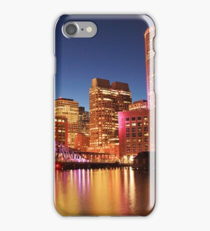 Evening Lights on the Boston Harbor Waterfront iPhone Case/Skin