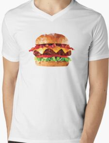 Geometric Bacon Cheeseburger Mens V-Neck T-Shirt