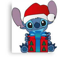 Cute Stitch with christmas gift Canvas Print
