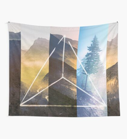 Mountains and Forest - Geometric Nature Smoke and Ash Tree Wall Tapestry