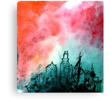 The City Rose Up urban industrial ink painting red black white Canvas Print