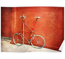 Tall Bike on Red Poster