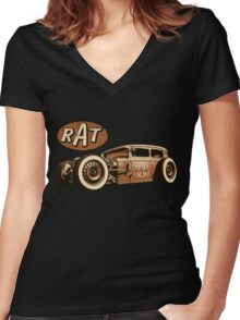 RAT - Route 66 Women's Fitted V-Neck T-Shirt