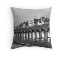 Beach huts bridlington Throw Pillow