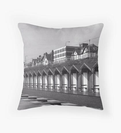 Beach huts bridlington Throw Pillow