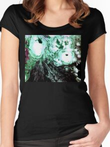 Cellular Abstract Painting Green Black Women's Fitted Scoop T-Shirt