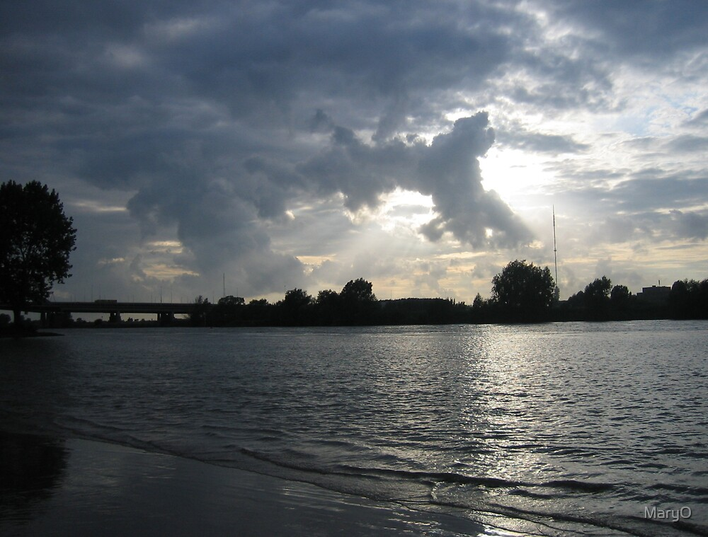 The River and the Clouds and Tower by MaryO