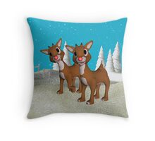 Red Nose Reindeer, tote, throw pillow, case Throw Pillow