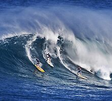 iPad Case.  Three Surfers At Waimea Bay.  by Alex Preiss