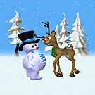 The Reindeer and the Snowman, tote, pillow, case,mugs by LoneAngel