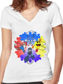 THE HEROES OF GAMING Women's Fitted V-Neck T-Shirt
