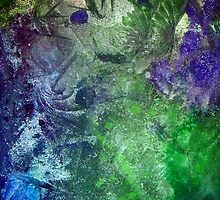 Frozen abstract crystal ice painting blue green purple white by 7RayedDesigns