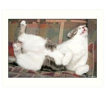 Billie the cat, playing dead. Art Print