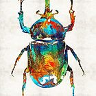 Colorful Beetle Art - Scarab Beauty - By Sharon Cummings by Sharon Cummings
