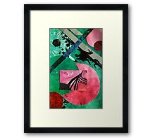 Uncharted abstract space landscape green red black Framed Print