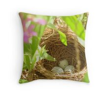 birdnest in willow tree Throw Pillow