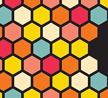 Colorful Hexagons on Black by Jeri Stunkard