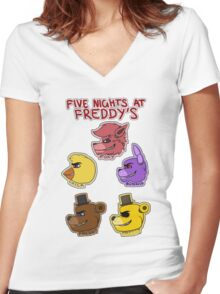 Five Nights at Freddy's Characters Women's Fitted V-Neck T-Shirt