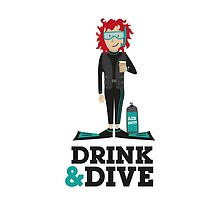 Drink and Dive - Scuba Diver - Red Short Hair by nelson92