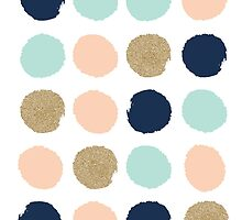 Wren - Brush strokes in modern colors turquoise, mint, navy, blush  by charlottewinter