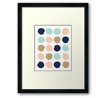 Wren - Brush strokes in modern colors turquoise, mint, navy, blush  Framed Print