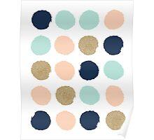 Wren - Brush strokes in modern colors turquoise, mint, navy, blush  Poster