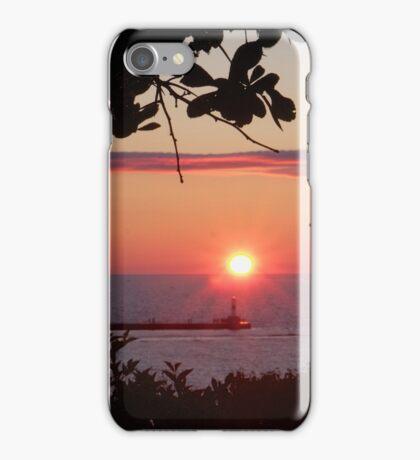 Petoskey Michigan Sunset over Petoskey Pierhead lighthouse iPhone Case/Skin