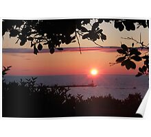 Petoskey Michigan Sunset over Petoskey Pierhead lighthouse Poster
