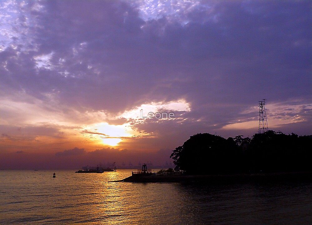 sunset on Singapore Harbour by Leone Fabre