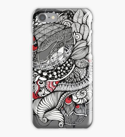 hand drawn fine line black and red fantasy   iPhone Case/Skin