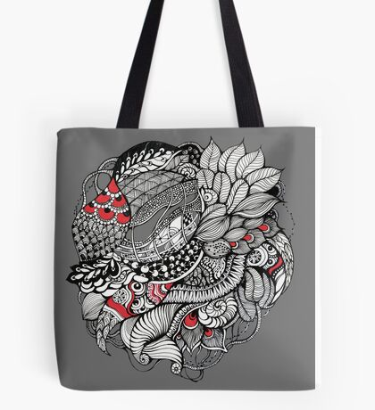 hand drawn fine line black and red fantasy   Tote Bag