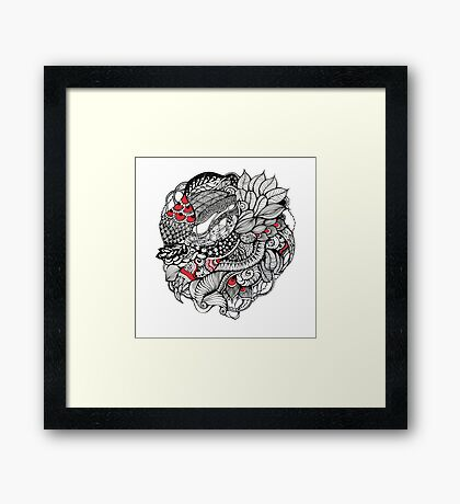 hand drawn fine line black and red fantasy   Framed Print