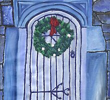 Blue Christmas Greetings by Rebecca Mason
