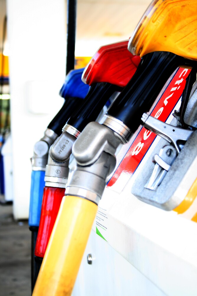 Primary colours and Petrol Pumps by Katie Young