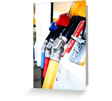 Primary colours and Petrol Pumps Greeting Card