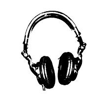 DJ Headphones Stencil Style Photographic Print