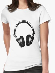 DJ Headphones Stencil Style Womens Fitted T-Shirt