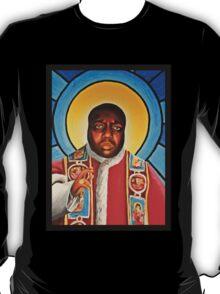 Notorious B.I.G Pope Biggie Stain Glass Window T-Shirt