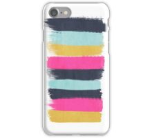 Inez - horizontal brushstroke pattern in pink, navy, gold, and mint iPhone Case/Skin