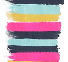 Inez - horizontal brushstroke pattern in pink, navy, gold, and mint by charlottewinter
