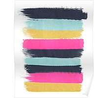 Inez - horizontal brushstroke pattern in pink, navy, gold, and mint Poster