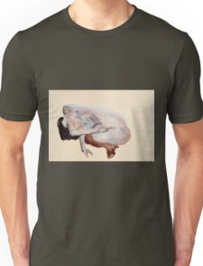 Egon Schiele - Crouching Nude In Shoes And Black Stockings, Back View Unisex T-Shirt