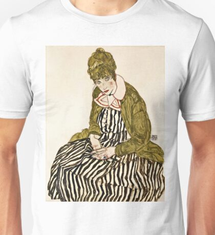 Egon Schiele - Edith With Striped Dress, Sitting (1915) Unisex T-Shirt
