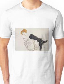 Egon Schiele - Woman In Black Stockings 1913 Unisex T-Shirt