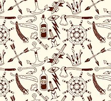 Nautical Anchor Pattern Fabric by sale