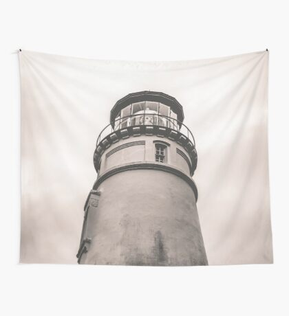 Ocean Beach Black and White Light House - Umqua Light House Wall Tapestry